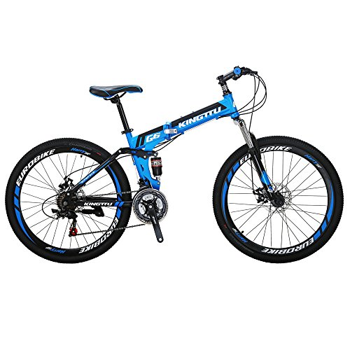 Kingttu KTG6 Mountain Bike 21 Speed 26 Inches Dual Suspension Folding Mountain Bike Blue
