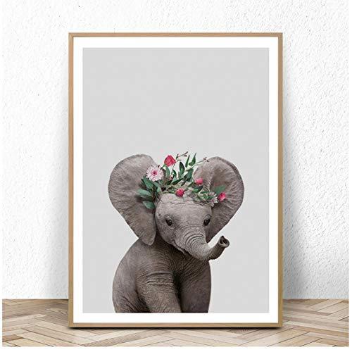 Zhaoyangeng kinderkamer canvas kunst poster en prints olifant muurkunst schilderij decoratieve Scandinavische afbeelding voor babykamer decoratie - 50X70cm niet-ingelijst