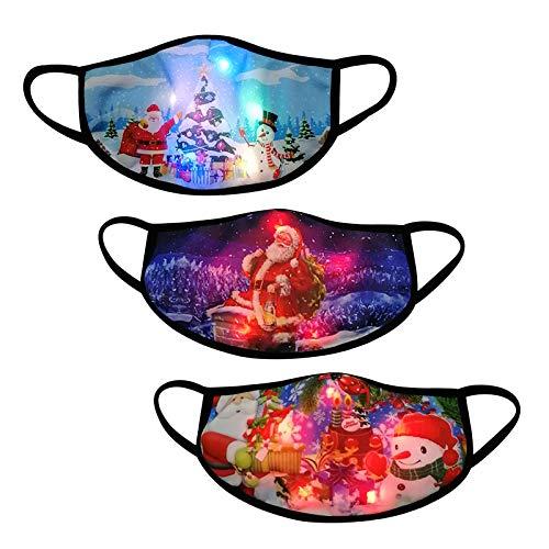 3 Stücke Erwachsene Halstuch Mundschutz Weihnachten LED Licht 3D Druck Bandana Atmungsaktiv Mund und Nasenschutz für Damen Herren (Kombination G)