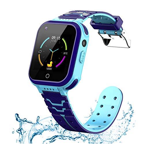 Reloj inteligente 4G para niños y niñas, teléfono inteligente IP67 impermeable videollamada pantalla táctil WiFi Bluetooth reloj de pulsera para 3-12 niños cumpleaños/Navidad/Año Nuevo regalos (azul)