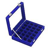 Ivos 24 compartimentos Terciopelo anillo caja caja aretes anillo joyería caja...