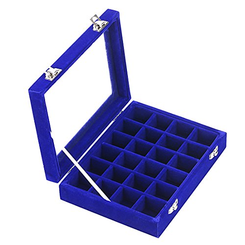 Ivosmart 24 Section Velvet Glass Jewelry Ring Display Organiser Box Tray Holder Earrings Storage Case (Blue)