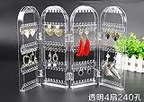 240/300 / 360holes plástico claro Pendientes Studs estante de exhibición de la pantalla plegable pendiente de la joyería del soporte de exhibición Caja de almacenamiento ( Color : 4 clear 240 holes )