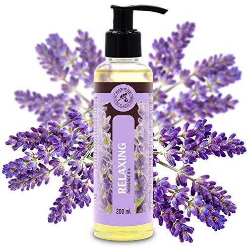 Massageöl Relaxing mit Lavendelöl 200ml - Massage Öl Beruhigende mit Herrlichem Duft - 100{085f844ad60b3fb0045b1fce863e03d5864854207a7f5dae97aa7d4e2d1675db} Naturkosmetik - Massageöl für Guten Schlaf - Entspannung - Wellness - Schönheit - Pflegeöl