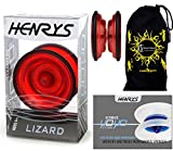 Henrys LIZARD YoYo (Rot) Professionelle Entry-Level-YoYo + Lehr-Broschüre von Tricks + Stoff...