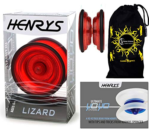Henrys LIZARD YoYo (Rot) Professionelle Entry-Level-YoYo + Lehr-Broschüre von Tricks + Stoff Reisetasche! Große Pro YoYo für Kinder und Erwachsene! AXYS-Systemachse Slider mit High-Speed-Lager.