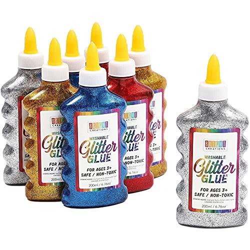 Botellas de Pegamento con Purpurina metalizada, 4 colores de arcoíris (200 ml, Paquete de 8)