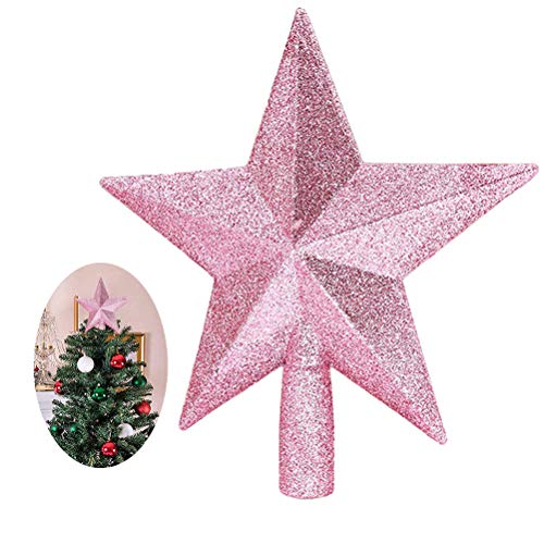 FBYED Christmas Tree Star, 20cm Glitter Star Christmas Tree Topper for Holiday Home Party Decoration, Pink