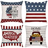 COLORPAPA Independence Day American Flag Throw Pillow Covers USA Patriotic 4th of July Pillow Case Vintage Wood Truck Farmhouse Decorative Square Cushion Cover for Sofa Bed 18x18 Inch Set of 4