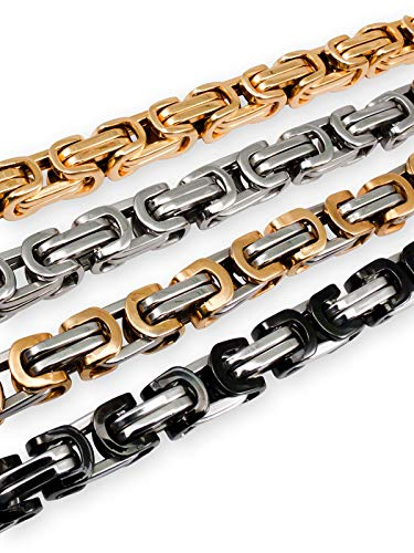Fly Style 6 mm Königskette oder Armband | Halskette aus Edelstahl in Silber, schwarz und Gold | 18-90 cm, Farbwahl:Gold, Längen:60 cm