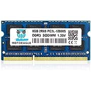 motoeagle DDR3L 1600MHz SODIMM PC3L-12800S 8GB 204-Pin Unbuffered Non-ECC 1.35V CL11 2Rx8 Dual Rank Notizbuch Arbeitsspeicher