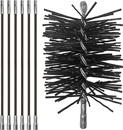 Chromex Chimney Cleaning Set - 6 Piece - 18 Foot Fiberglass Chimney Rod and 6 Inch Chimney Brush