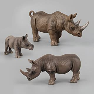 LULUD Children's Simulation Soft Rubber Animal Model Three Sets Large Rhinoceros Toy Collection Ornaments 3-6 Years Old Bo...
