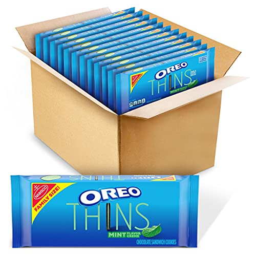 OREO Thins Chocolate Sandwich Cookies, Mint Flavored Creme, 12 Family Size Packs