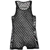CSMARTE - Body para hombre, semitransparente, ropa interior de una sola pieza Negro Negro ( XL