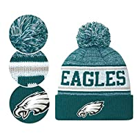 Fans Hats Winter Knit Cuffed Stylish Beanie Knit Cap Sport Hats Fashion Toque Cap for Gift for Unisex Men Women Indoor and Outdoor, Festival, Holiday, Celebration, Parties, Bar (Philadelphia Eagles)