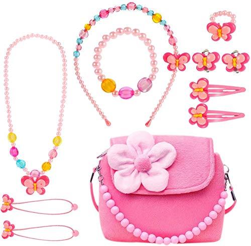 specool Kinderschmuck Mädchen Kinder Mädchen Handtasche mit Halskette Armband Ring und Ohrring Schmuckset Mein erster Geldbeutel für kleine Mädchen Anzieh und Rollenspiel