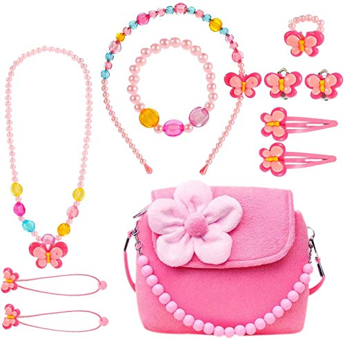 specool Kids Jewelry Set Little Girls Plush Handbag with Necklace Bracelet Ring and Earring Jewelry Set My First Purse for Little Kids Dress up and Role Play