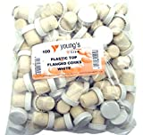 Youngs 100 NEW CORKS FOR WINE WINEMAKING WHITE PLASTIC TOP FLANGED