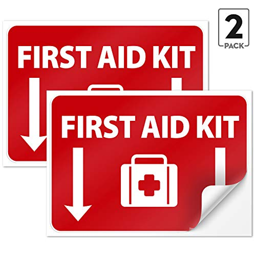 First Aid Kit Sign, (2 Pack) Sticker, 10x7 Inches, 4 Mil Vinyl Self Adhesive Durable Decal Stickers, Long Lasting, Weatherproof and UV Protected, Made in USA by SIGO SIGNS