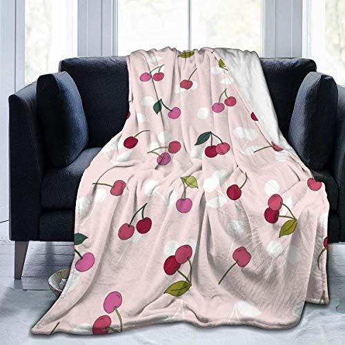 Lindo manta de microfibra de franela de cerezo de fruta cálida y difusa de felpa para cama de sofá, sala de estar, adolescentes, 60 x 50 pulgadas