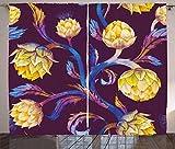 abakuhaus carciofo tende, colorato vibrante vegan, casa arredamento elemento distintivo due pannelli set, 280 x 225 cm, blu scuro giallo