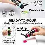 Arteza Pouring Acrylfarbe, 32 Stück-Set, 60 ml Flaschen mit vielen Farbtönen, flüssige Gießfarbe, kein Mischen erforderlich, Farbe zum Gießen auf Leinwand, Glas, Papier, Holz, Fliesen und Steine - 5