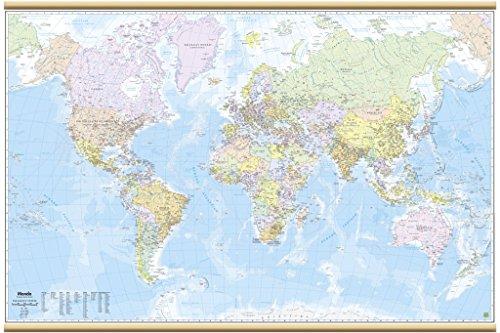 Mondo Carta Geografica Murale [200x128 cm] [Plastificata/Con aste in legno] Belletti