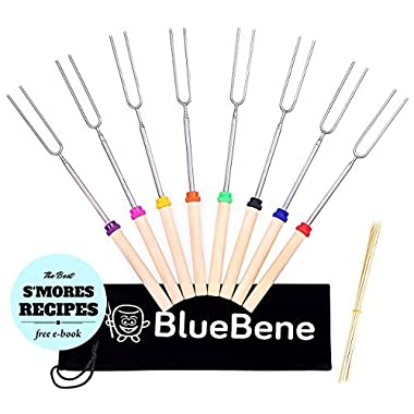 BlueBene Marshmallow Roasting Sticks by 8 Extending Skewers for Hot Dog and Marshmallows - 32 inch Safe Forks Best for Camping with Bonus 10 Bamboo