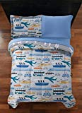YZ Delight Your Big Machine Lover with Colorful,Exciting and Super Soft Transportation Bed in a Bag Coordinating Bedding Set,Great Addition to Kids/Vehicle Lovers Room,Blue,Twin