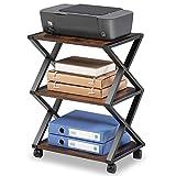 FITUEYES Support d'Imprimante avec Roues X Structure Métal Bois Matchwood 3 Étagères de Rangement pour Bureau Maison Cuisine 59.5x45.5x30.3cm DO304501WG