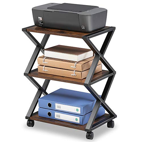 FITUEYES Soporte para Impresora con Ruedas X Estructura Metal Madera Matchwood 3 Estantes para Oficina Hogar Cocina Almacenamiento 59.5x45.5x30.3cm DO304501WG