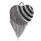 Bolso De Noche Mujeres Diseño De Corazón Anillo De Dedo Diamantes Bolso De Noche Bolso Cristal Borla con Cuentas Día Bolso De Embrague Bolso De Noche-Ym1160 Negro