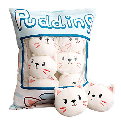 Aosida schattige sierkussen gevulde aardbei creatief speelgoed verwijderbare pluizige kawaii kitty kat pluche snack kussen pudding decoratieve dieren poppen bed bank geschenken
