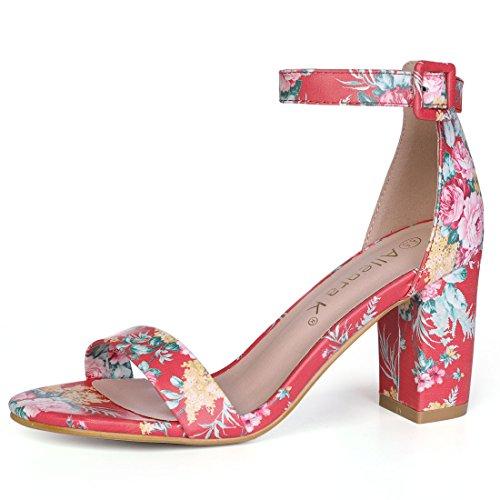 Allegra K - Sandali da donna con cinturino alla caviglia e tacco a blocchi, Rosso (Rosso-floreale), 40.5 EU