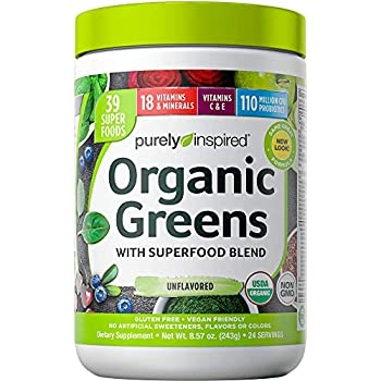 Greens Powder Smoothie Mix | Purely Inspired Organic Greens Powder Superfood | Super Greens Powder Organic | Fruit + Veggie Superfood Powder | Green Smoothie Powder 24 Servings  Package May Vary