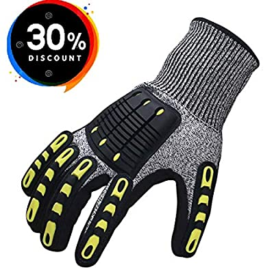 Impact Reducing Safety Gloves, Vibration & Abrasion & Cut Resistant, Ideal for Heavy Duty Safety Work like Mechanic, Garden Construction, Car Repairing Industrial, 1 Pair by KARRISM