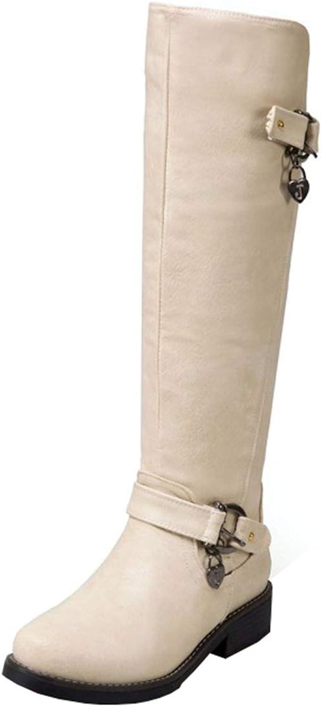 Artfaerie Womens Low Heel Wide Calf Knee High Boots with Zip Hi-Top Buckle Horse Riding Ladies Long Boots