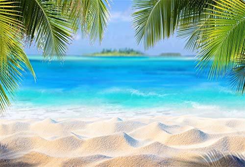 Cassisy 3x2m Vinilo Mar Fondo de Fotografia Tropical Playa de Arena Hojas de Palma Isla Paraíso Cielo Soleado Telón de Fondo Photo Booth Party Photo Studio Props
