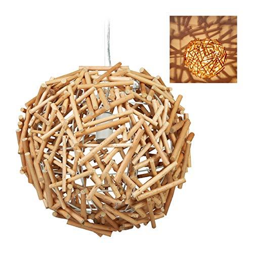 Relaxdays Hängelampe Holz, Handarbeit, Holzlampe, Esszimmer, Wohnzimmer, E27 Treibholz Lampe, HxD: 143 x 42 cm, natur