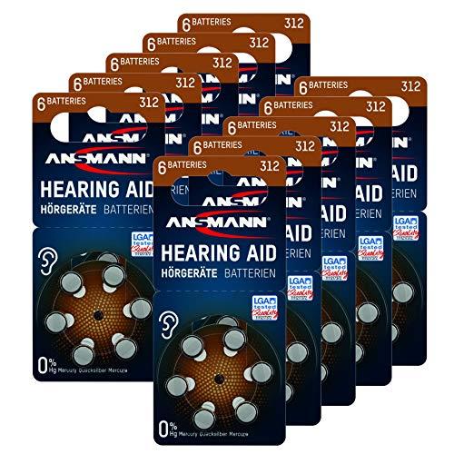 ANSMANN Typ 312 Hörgerätebatterien Braun 60 Stück - Zink Luft 1,4V Hörgeräte Batterien 312 P312 ZL3 PR41 - Knopfzelle geeignet für Hörgerät Hörverstärker & Hörhilfe