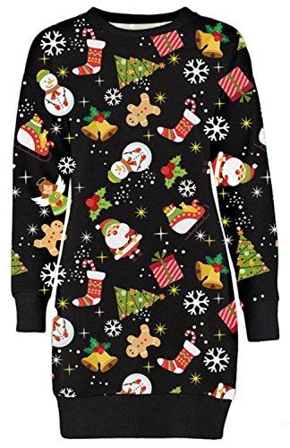 Xclusive Collection Neu Frauen Weihnachten Süßigkeit Stick Ingwer Brot Socken Thermisch Sweatshirt Jumpers Ginger Bread Black 48-50