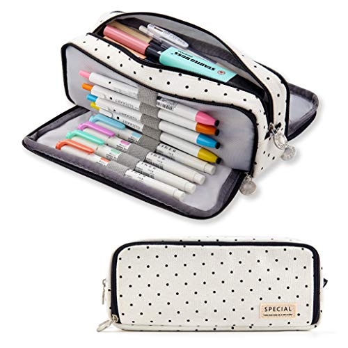 ANGOOBABY Large Pencil Case Big Capacity 3 Compartments Canvas Pencil Pouch for Teen Boys Girls School Students (Black Dot)