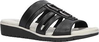Easy Street Women's Slip on Sandal Wedge, Black, 7