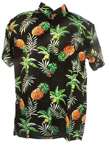 TERRAPIN Shirt Fiera Nero Ananas Frutta Tropicale con Noce di Cocco Pulsanti S-XXL