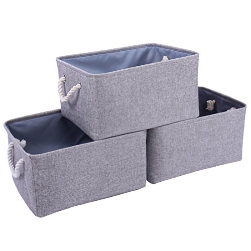 TheWarmHome Foldable Storage Baskets with Strong Cotton Rope Handles, Collapsible Storage Bins, Fabric Baskets Set for Baby Storage, Toy Storage, Nursery Baskets (Grey, 15.7Lx11.8Wx8.3H in)