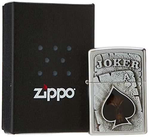 Zippo Feuerzeug PL 205 Skull Ace 2005170 Accendino, Cromo, Satin Finish (Joker Emblem), 6.0 x 4.0 x 2.0 cm