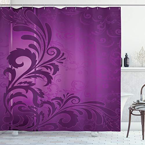 ABAKUHAUS Lila Duschvorhang, Retro Abstract Floral, Klare Farben aus Stoff inkl.12 Haken Farbfest Schimmel & Wasser Resistent, 175 x 200 cm, Lila Pflaumen