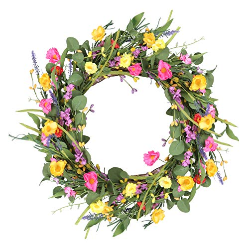 VIGEIYA 22' Spring Front Door Wreath Floral Farmhouse Wreath for Outdoor Indoor with Lavender Green Eucalyptus Leaves Daisy Flower Home Party Decoration