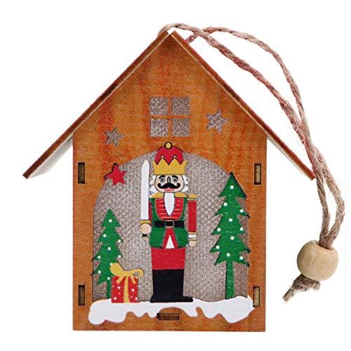 BESPORTBLE LED Weihnachtshaus mit Beleuchtung Holz Nussknacker Ornamente Anhänger Weihnachten Holzhaus Weihnachtsbaumschmuck Soldat Figuren Winterhaus Christbaumanhänger Weihnachtsschmuck